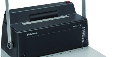 Fellowes Metal 100R- Encuadernadora manual de espiral metálico, con palanca ergonómica en forma de U, Con rodillo insertador